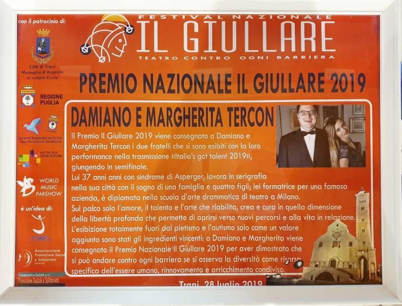 Premio Il Giullare Tercon fratelli Margherita Damiano 2019